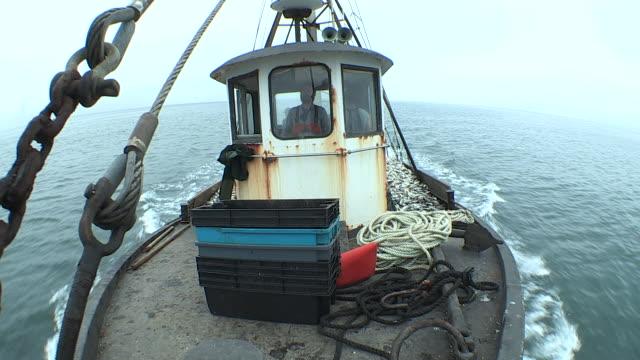 Fishermen drive a fishing boat from the wheelhouse.