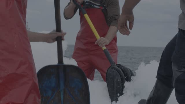 vidéos et rushes de fishermen fishing tuna fish (bluefin) from a fishing boat slow motion 4k - port