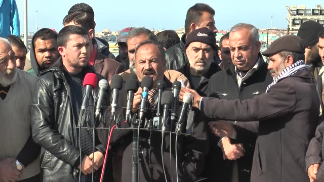 fishermen from gaza protest agression of israeli navy towards fishermens in gaza city, gaza on january 05, 2016. head of union of palestinian... - aggression stock videos & royalty-free footage