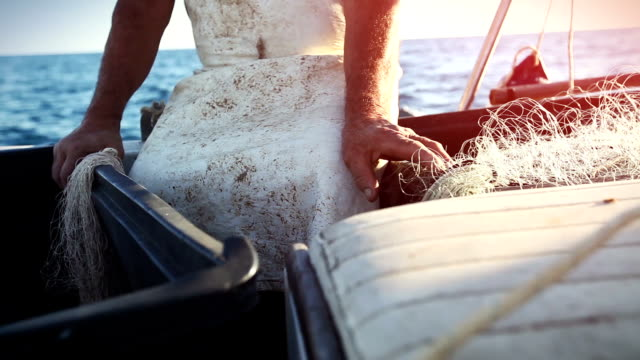 fishermen hands on the fishing boat - fisherman stock videos & royalty-free footage