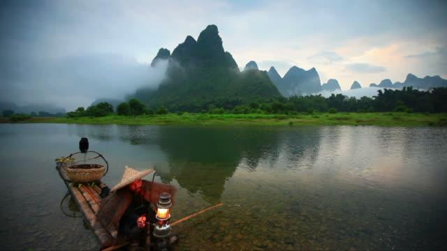 fishermen on li river,yangshuo,guilin - guilin stock videos & royalty-free footage