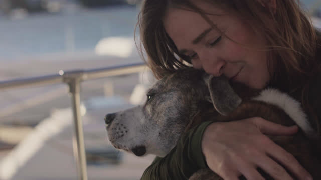 fisherwoman embraces and pets her dog on the deck of a docked yacht in a marina during coffee break - fischerboot stock-videos und b-roll-filmmaterial