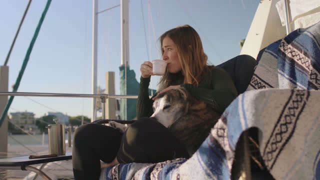 fisherwoman takes a coffee break to use her phone and pets her dog on the deck of a docked yacht in a marina - incentive stock videos & royalty-free footage
