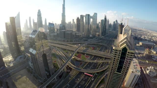 stockvideo's en b-roll-footage met fisheye, aerial view of dubai skyline / dubai, vae - wide