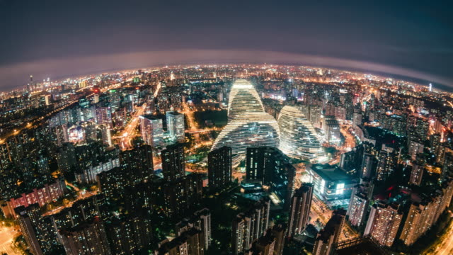t/l ha fisheye and aerial view of beijing skyline at night / beijing, china - pechino video stock e b–roll
