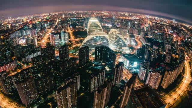 T/L PAN Fisheye und Antenne auf Beijing Skyline bei Nacht