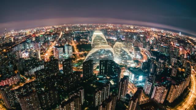 t/l td fisheye and aerial view of beijing wangjing area - fish eye lens stock videos & royalty-free footage