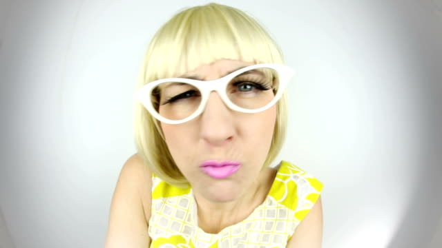 fisheye angry 60's woman - insanity stock videos & royalty-free footage