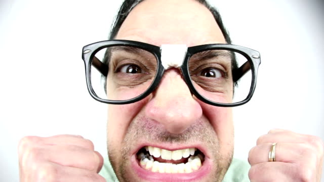 fisheye angry nerd guy - grimacing stock videos and b-roll footage