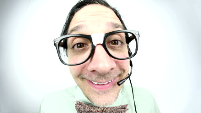 fisheye chatty customer service guy - salesman stock videos and b-roll footage