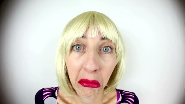 fisheye clueless blonde character - shrugging stock videos and b-roll footage