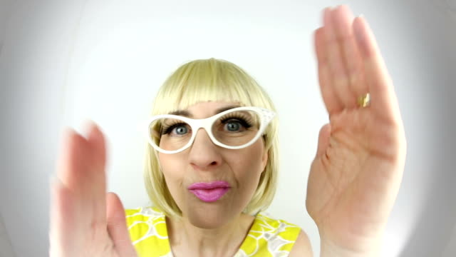 fisheye dancing 60's woman - cat's eye glasses stock videos and b-roll footage