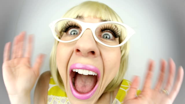 fisheye extremely excited fisheye woman - ecstatic stock videos & royalty-free footage