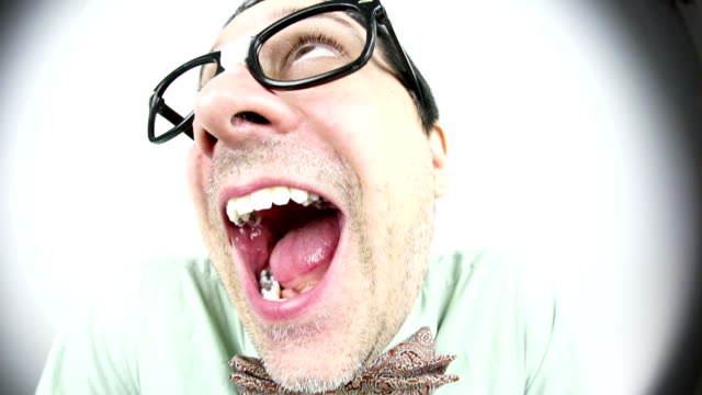 fisheye joyful nerd guy - geek stock videos & royalty-free footage