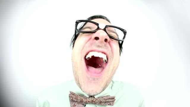 fisheye laughing nerd - comedian stock videos & royalty-free footage