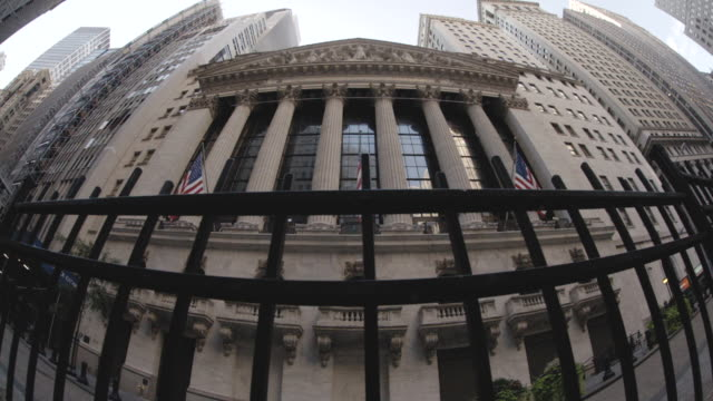 Fisheye Lens shot of New York City's Wall Street