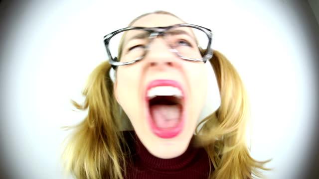 fisheye metal nerd singing - head banging stock videos & royalty-free footage