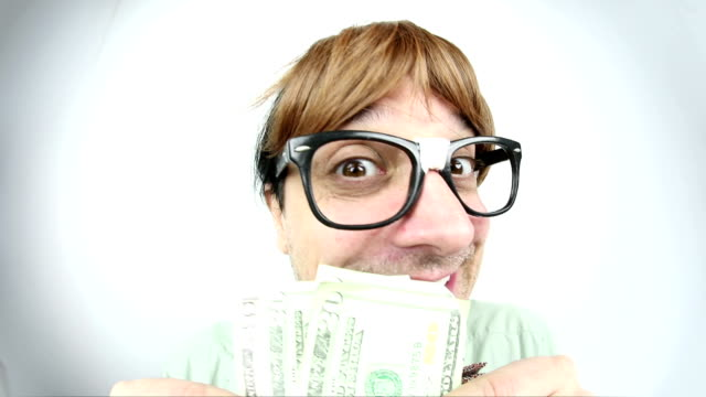 fisheye money hungry guy - geek stock videos & royalty-free footage