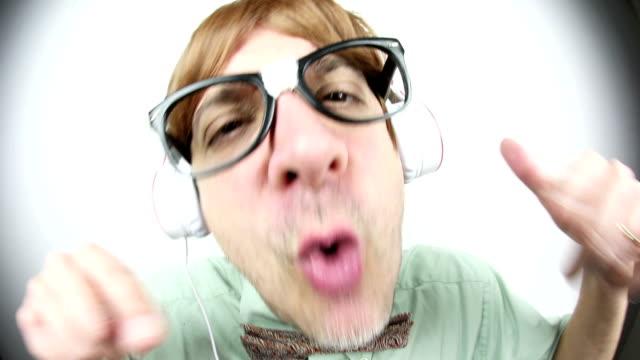 fisheye nerd rapping - hip hop stock videos & royalty-free footage