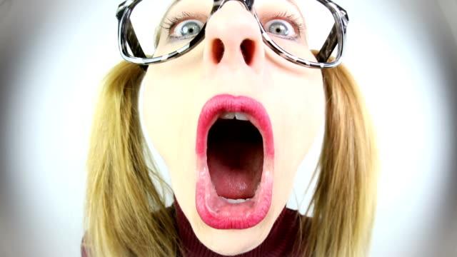 fisheye nerd singing - ugliness stock videos & royalty-free footage