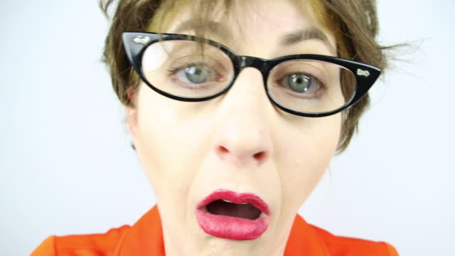 fisheye panic attack - cat's eye glasses stock videos and b-roll footage