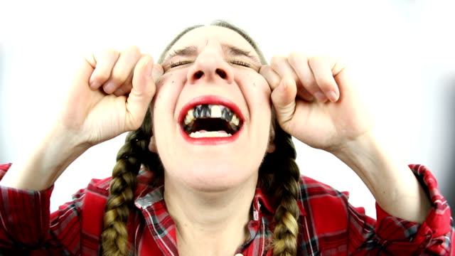 fisheye redneck woman laughing out loud - hysteria stock videos & royalty-free footage