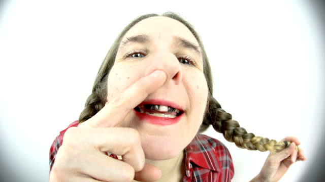 fisheye redneck woman picking nose - ugliness stock videos & royalty-free footage