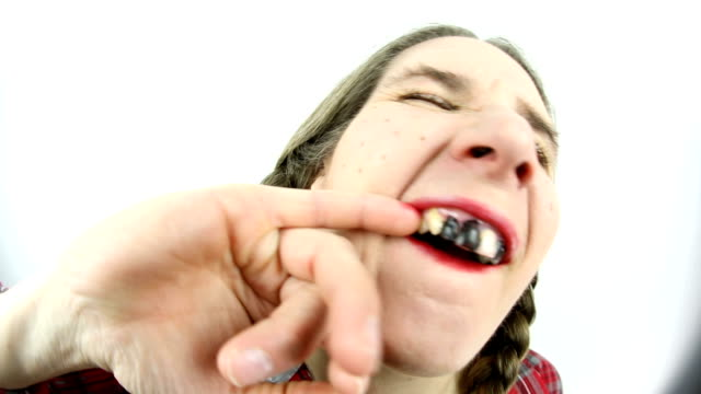 fisheye redneck woman picking teeth - ugliness stock videos & royalty-free footage