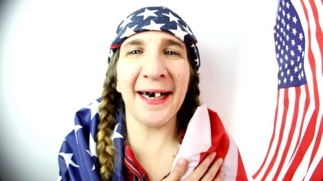 fisheye redneck woman pledge of allegiance - hillbilly stock videos & royalty-free footage