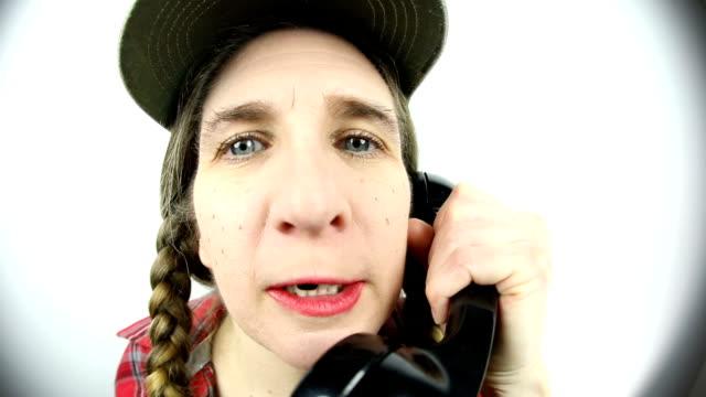 fisheye redneck woman talking on old phone - hillbilly stock videos & royalty-free footage