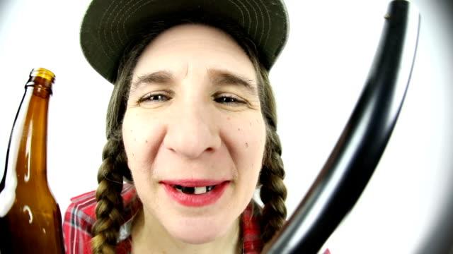 fisheye redneck woman with beer and gun - hillbilly stock videos & royalty-free footage