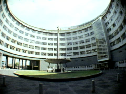 a fisheye shot of the central courtyard of bbc television centre - bbc stock videos & royalty-free footage