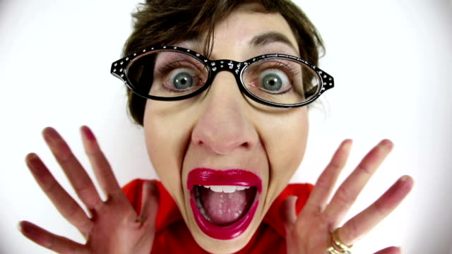 fisheye surprised nerdy woman - excitement stock videos & royalty-free footage