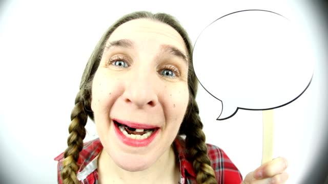 fisheye talkative redneck woman with talk bubble - hillbilly stock videos & royalty-free footage