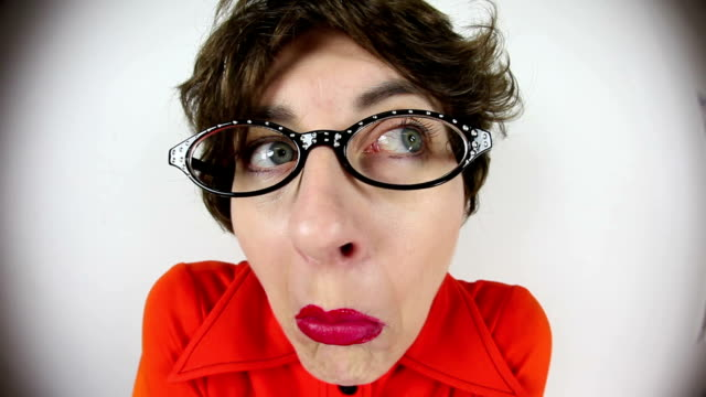 fisheye terrified nerdy woman - shivering stock videos & royalty-free footage