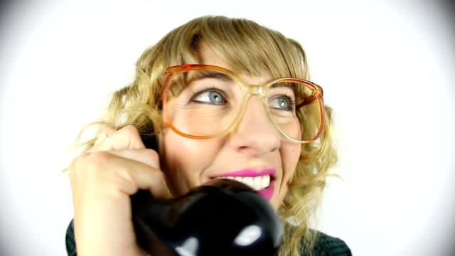 fisheye video big hair 80s woman on phone - big hair stock videos & royalty-free footage