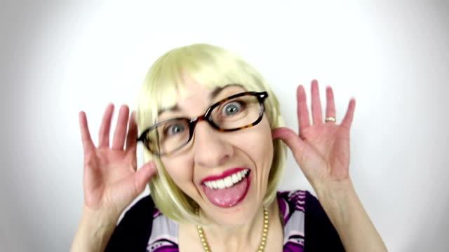 fisheye video nerdy woman laughing and teasing - teasing stock videos & royalty-free footage
