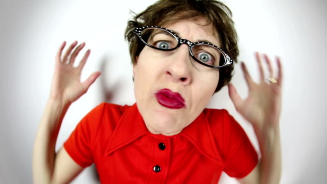 fisheye video ranting geeky woman - complaining stock videos & royalty-free footage