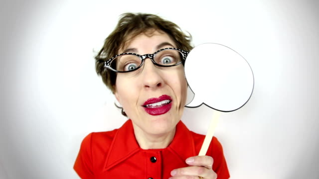 fisheye video talkative geeky woman - cat's eye glasses stock videos and b-roll footage