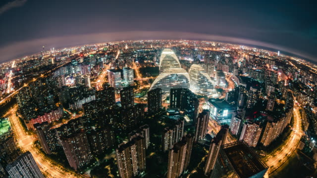 T/L Fish-eye View of Beijing Skyline at Night / Beijing, China