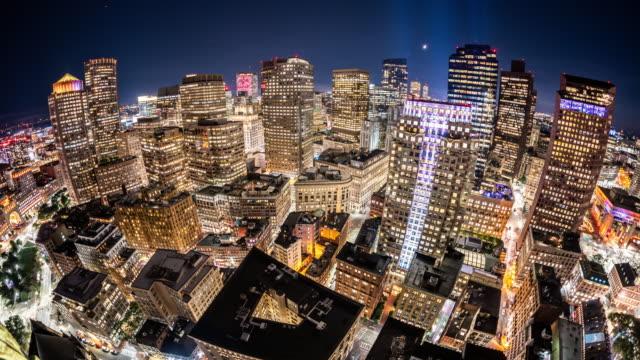 t/l ws ha fisheye view of boston skyline at night / boston, usa - fish eye lens stock videos & royalty-free footage