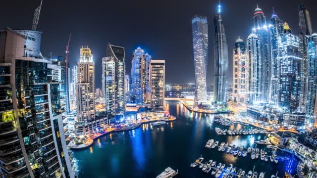 T/L WS HA ZO Fisheye View of Dubai Marina at Night / Dubai, UAE