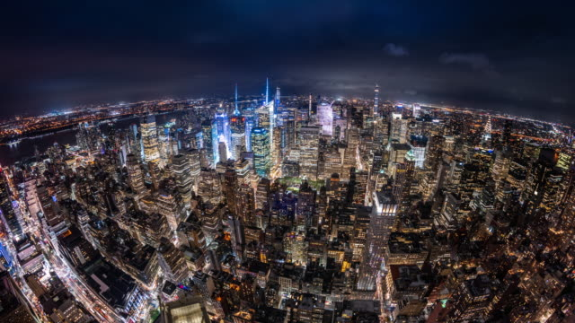 t/l ws ha fisheye view of midtown manhattan at night / new york city, usa - fish eye lens stock videos & royalty-free footage