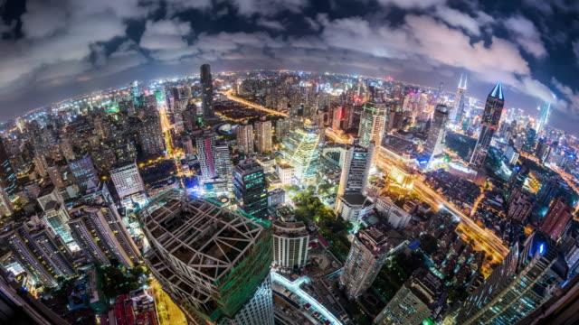 t/l ws ha fisheye view of modern shanghai at night / shanghai, china - fish eye lens stock videos & royalty-free footage