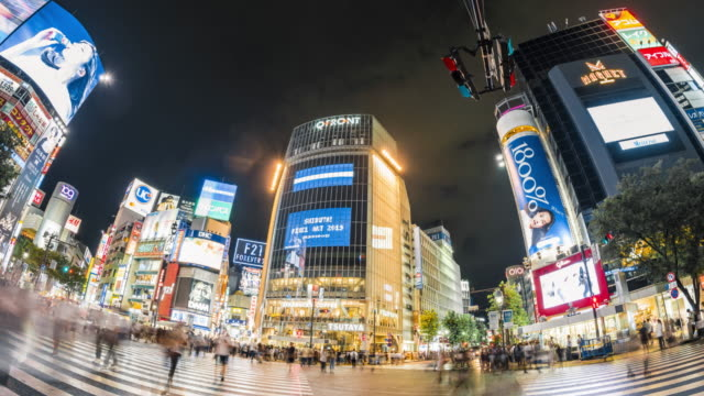 t/l ws fisheye view of shibuya crossing at dusk / tokyo, japan - wide angle stock videos & royalty-free footage