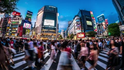t/l ws fisheye view of shibuya crossing at dusk / tokyo, japan - busy stock videos & royalty-free footage