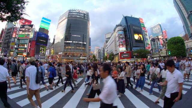 fisheye view of shibuya crossing - shibuya ward stock videos & royalty-free footage