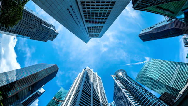 fish-eye view of the singapore city - fish eye lens stock videos & royalty-free footage