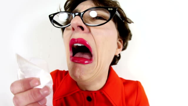 fisheye woman having sneezing attack - hay fever stock videos & royalty-free footage