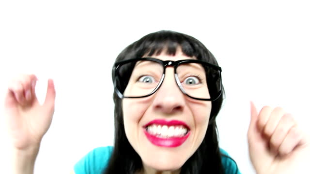fisheye woman reacting to exciting news - excitement stock videos & royalty-free footage